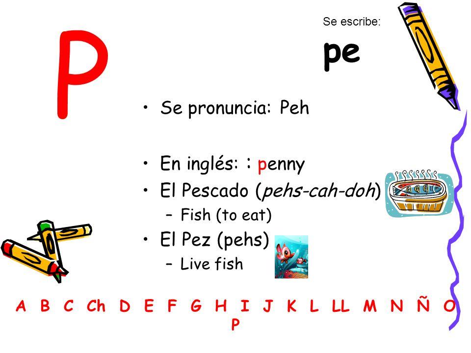 P Se pronuncia: Peh En inglés: : penny El Pescado (pehs-cah-doh) –Fish (to eat) El Pez (pehs) –Live fish A B C Ch D E F G H I J K L LL M N Ñ O P Se es