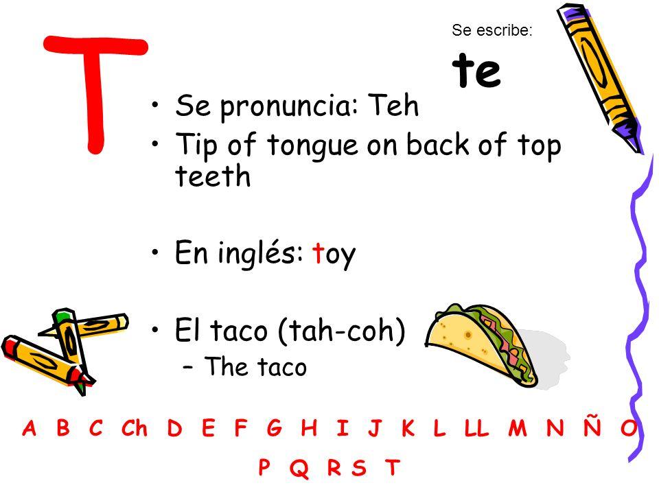 T Se pronuncia: Teh Tip of tongue on back of top teeth En inglés: toy El taco (tah-coh) –The taco A B C Ch D E F G H I J K L LL M N Ñ O P Q R S T Se escribe: te
