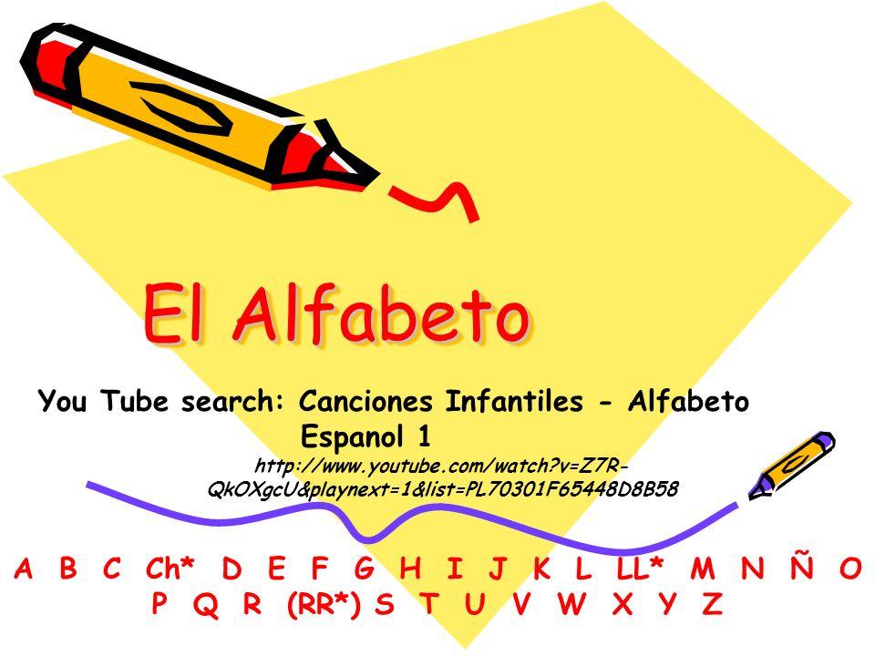 El Alfabeto A B C Ch* D E F G H I J K L LL* M N Ñ O P Q R (RR*) S T U V W X Y Z You Tube search: Canciones Infantiles - Alfabeto Espanol 1 http://www.youtube.com/watch?v=Z7R- QkOXgcU&playnext=1&list=PL70301F65448D8B58