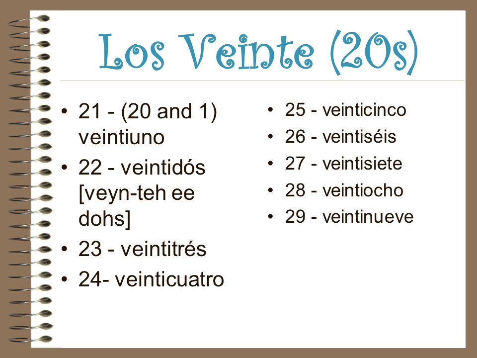 Los Veinte (20s) 21 - (20 and 1) veintiuno 22 - veintidós [veyn-teh ee dohs] 23 - veintitrés 24- veinticuatro 25 - veinticinco 26 - veintiséis 27 - veintisiete 28 - veintiocho 29 - veintinueve