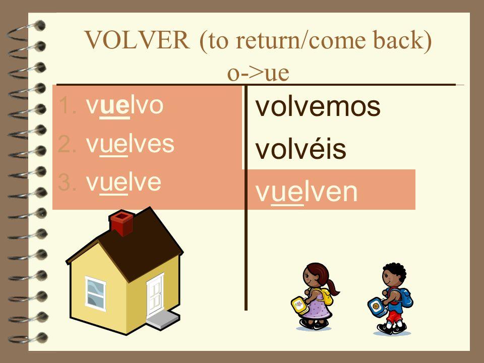 VOLVER (to return/come back) o->ue 1. vuelvo 2. vuelves 3. vuelve volvemos volvéis vuelven