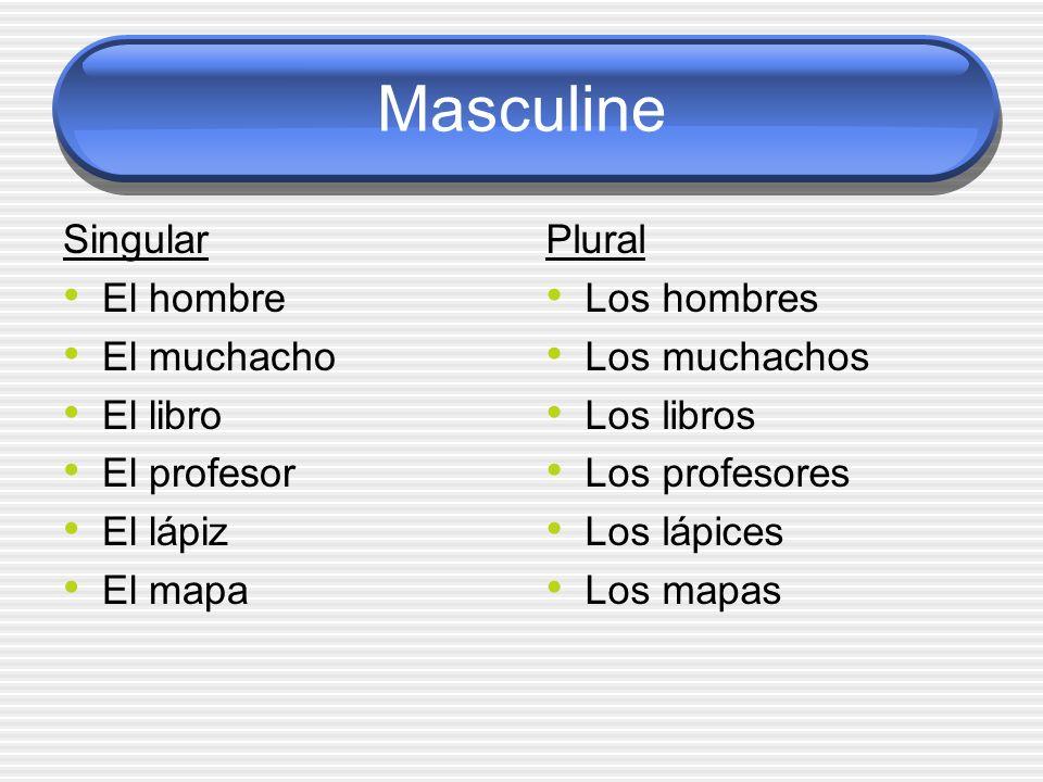 Masculine Singular El hombre El muchacho El libro El profesor El lápiz El mapa Plural Los hombres Los muchachos Los libros Los profesores Los lápices