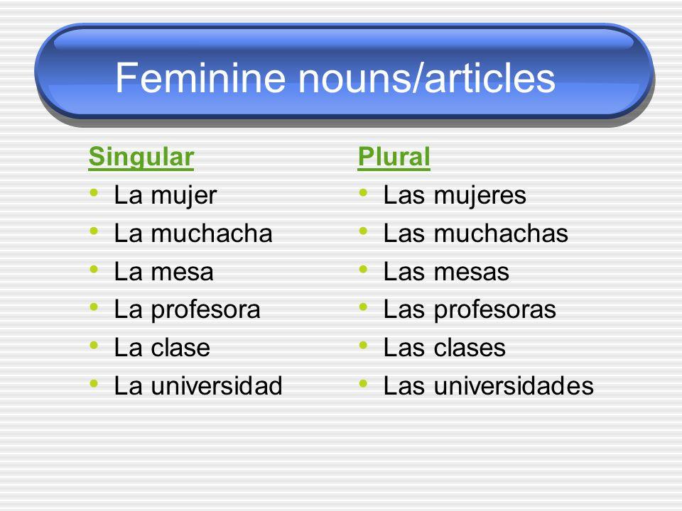 Feminine nouns/articles Singular La mujer La muchacha La mesa La profesora La clase La universidad Plural Las mujeres Las muchachas Las mesas Las prof