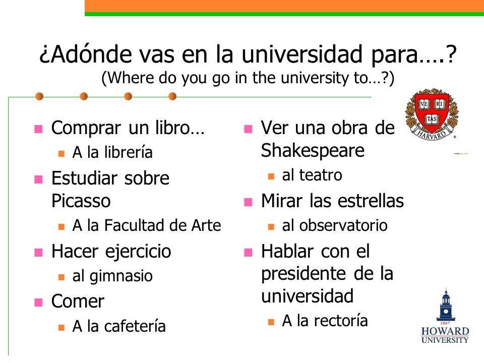 Try these I go to school (yo) Voy a la escuela Voy al colegio You go to the museum (tú) Vas al museo.
