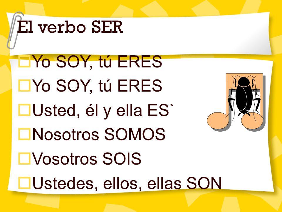 El verbo SER Yo SOY, tú ERES Usted, él y ella ES` Nosotros SOMOS Vosotros SOIS Ustedes, ellos, ellas SON