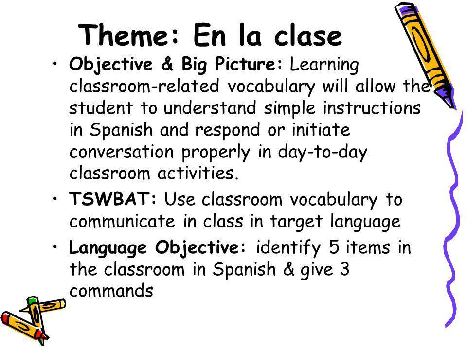 En la clase hay… (in the classroom there is/are…) Un mapa/el mapa –A/the map Un/el marcador –The marker Una mesa/la mesa –a/the table Una pizarra/la pizarra (blanca) –A/the chalkboard (white board Una silla/la silla –A/the chair Un escritorio/el escritorio –a/the desk