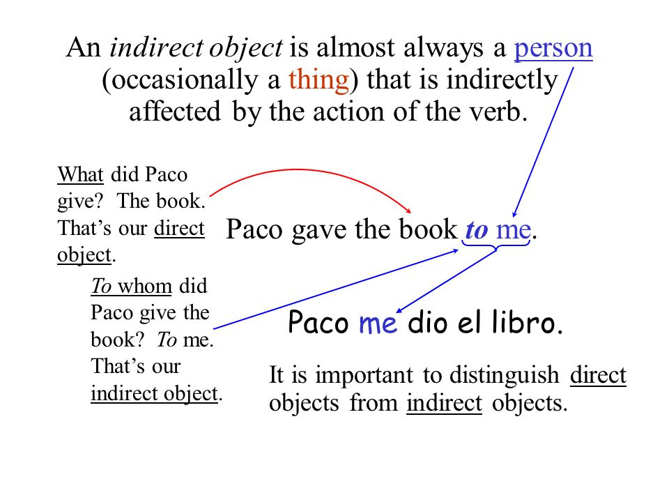 An indirect object is almost always a person (occasionally a thing) that is indirectly affected by the action of the verb. Paco gave the book to me. P