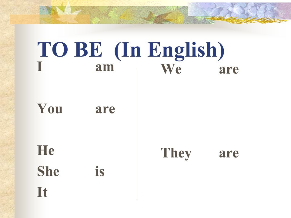 TO BE (In English) Iam Youare He Sheis It Weare Theyare