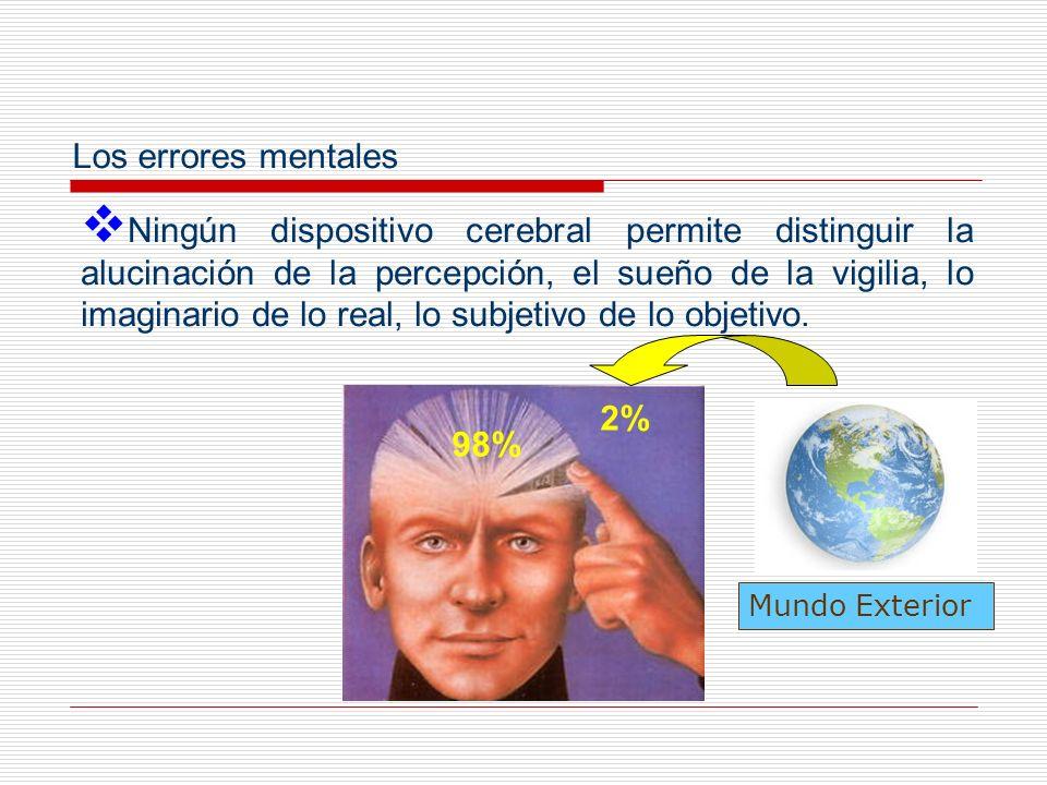 También existe en cada mente una posibilidad de mentira a sí mismo (self- deception) que es fuente permanente de error y de ilusión.