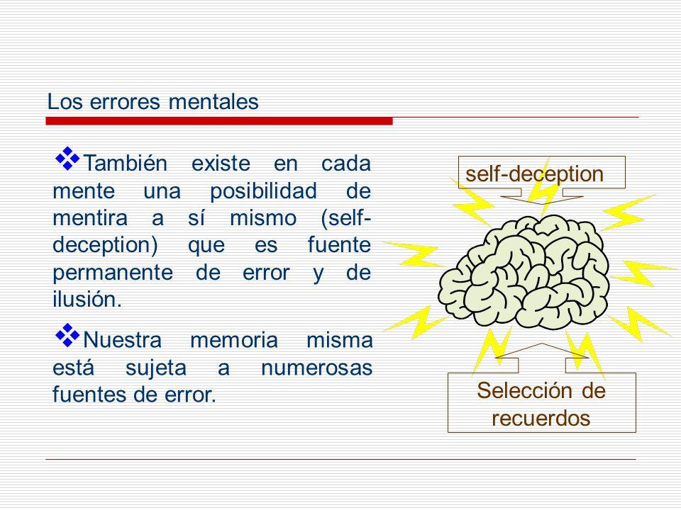 También existe en cada mente una posibilidad de mentira a sí mismo (self- deception) que es fuente permanente de error y de ilusión. Los errores menta