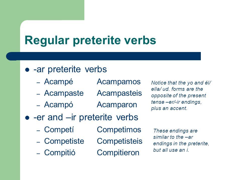 Regular preterite verbs -ar preterite verbs – AcampéAcampamos – AcampasteAcampasteis – AcampóAcamparon -er and –ir preterite verbs – CompetíCompetimos