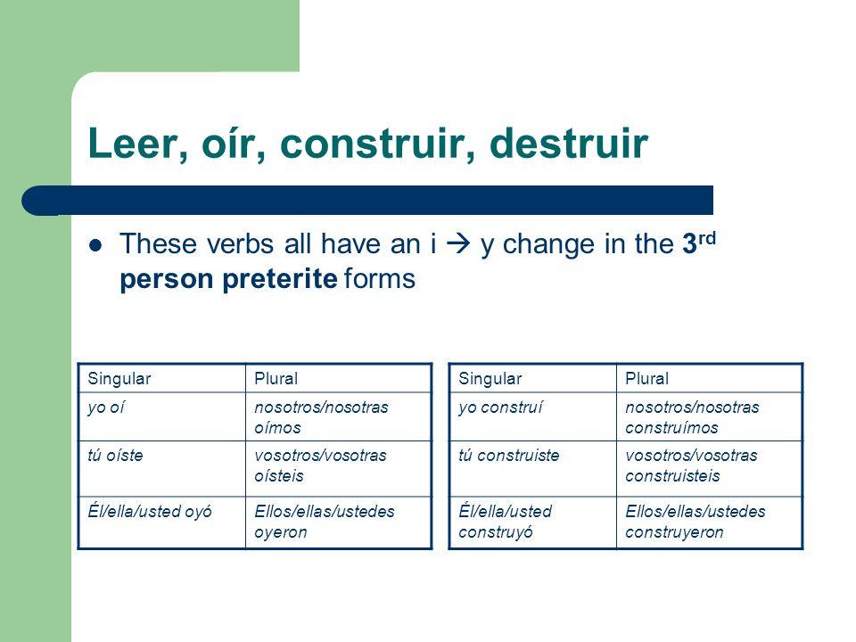 Leer, oír, construir, destruir These verbs all have an i y change in the 3 rd person preterite forms SingularPlural yo construínosotros/nosotras const