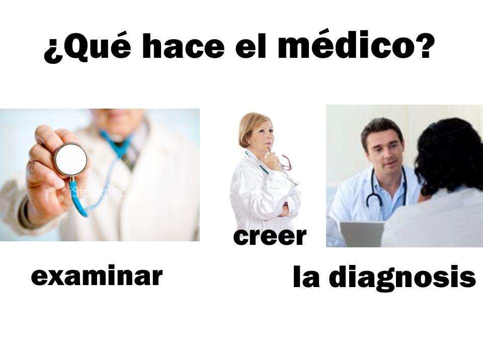 ¿Qué hace el médico ? la diagnosis examinar creer