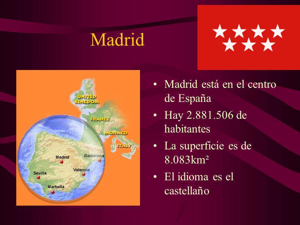 Madrid Madrid está en el centro de España Hay 2.881.506 de habitantes La superficie es de 8.083km² El idioma es el castellaño