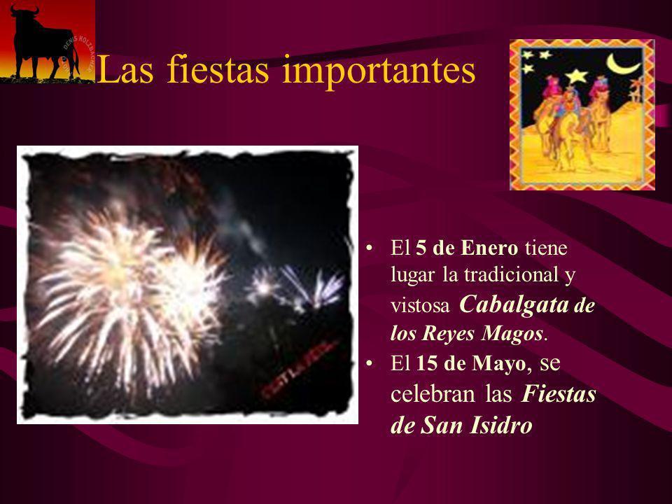 El 5 de Enero tiene lugar la tradicional y vistosa Cabalgata de los Reyes Magos. El 15 de Mayo, se celebran las Fiestas de San Isidro Las fiestas impo