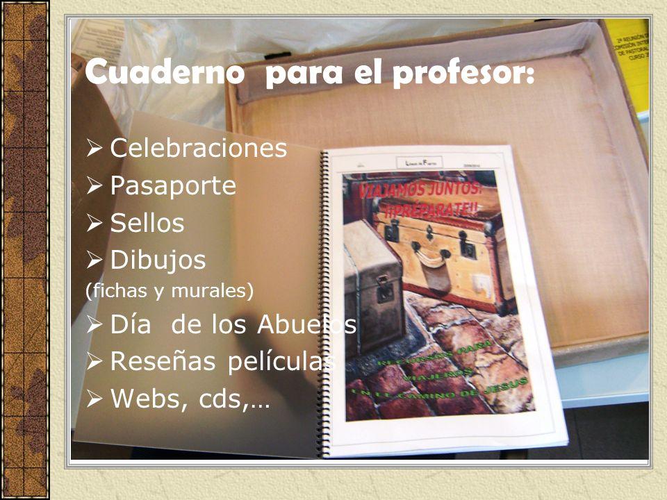 Cuaderno para el profesor: Celebraciones Pasaporte Sellos Dibujos (fichas y murales) Día de los Abuelos Reseñas películas Webs, cds,…