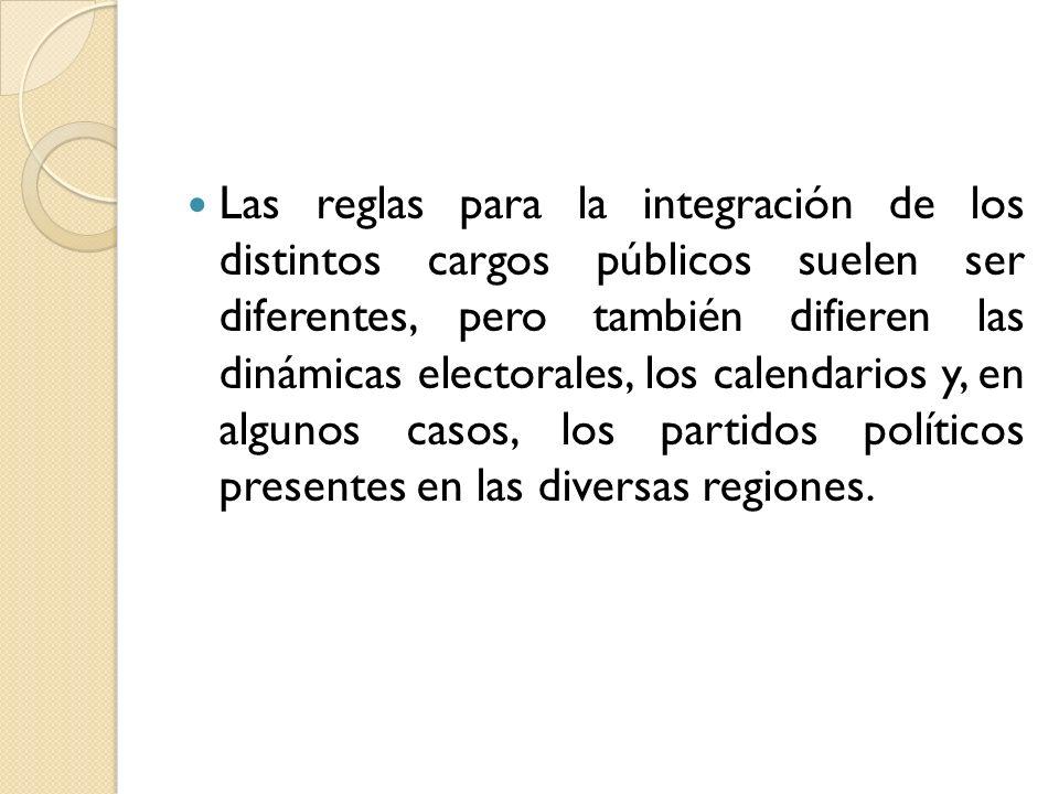 Las reglas para la integración de los distintos cargos públicos suelen ser diferentes, pero también difieren las dinámicas electorales, los calendario