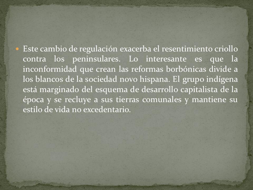 El siglo XVIII en su última mitad de siglo gesta un cambio de regulación en la forma de compulsión económica. El éxito del esquema virreinal que logra
