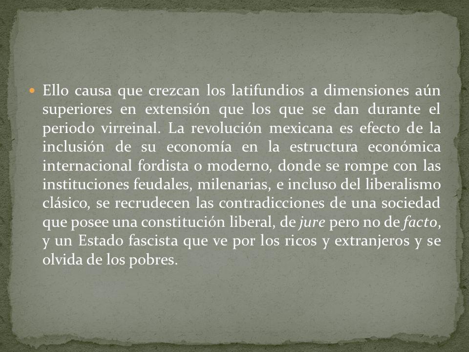 La revolución mexicana es resultado de las reformas liberales que logran los liberales desde el constituyente de 1856, que afecta tierras tanto de la