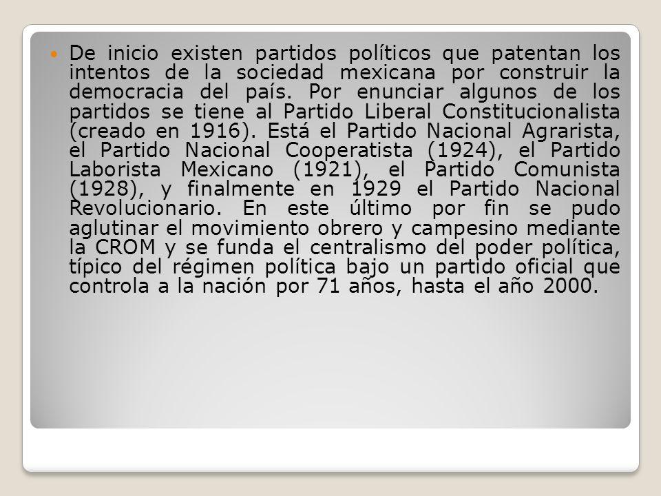 De inicio existen partidos políticos que patentan los intentos de la sociedad mexicana por construir la democracia del país. Por enunciar algunos de l
