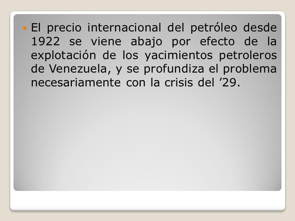 El precio internacional del petróleo desde 1922 se viene abajo por efecto de la explotación de los yacimientos petroleros de Venezuela, y se profundiz