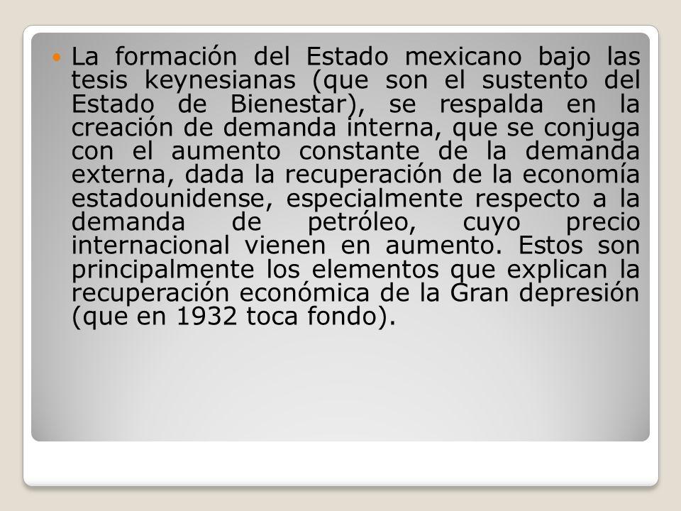 La formación del Estado mexicano bajo las tesis keynesianas (que son el sustento del Estado de Bienestar), se respalda en la creación de demanda inter