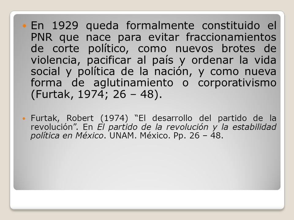 En 1929 queda formalmente constituido el PNR que nace para evitar fraccionamientos de corte político, como nuevos brotes de violencia, pacificar al pa
