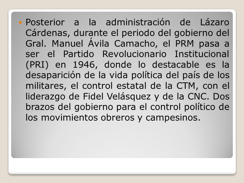 Posterior a la administración de Lázaro Cárdenas, durante el periodo del gobierno del Gral. Manuel Ávila Camacho, el PRM pasa a ser el Partido Revoluc