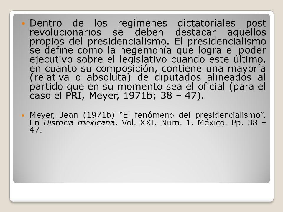 Dentro de los regímenes dictatoriales post revolucionarios se deben destacar aquellos propios del presidencialismo. El presidencialismo se define como