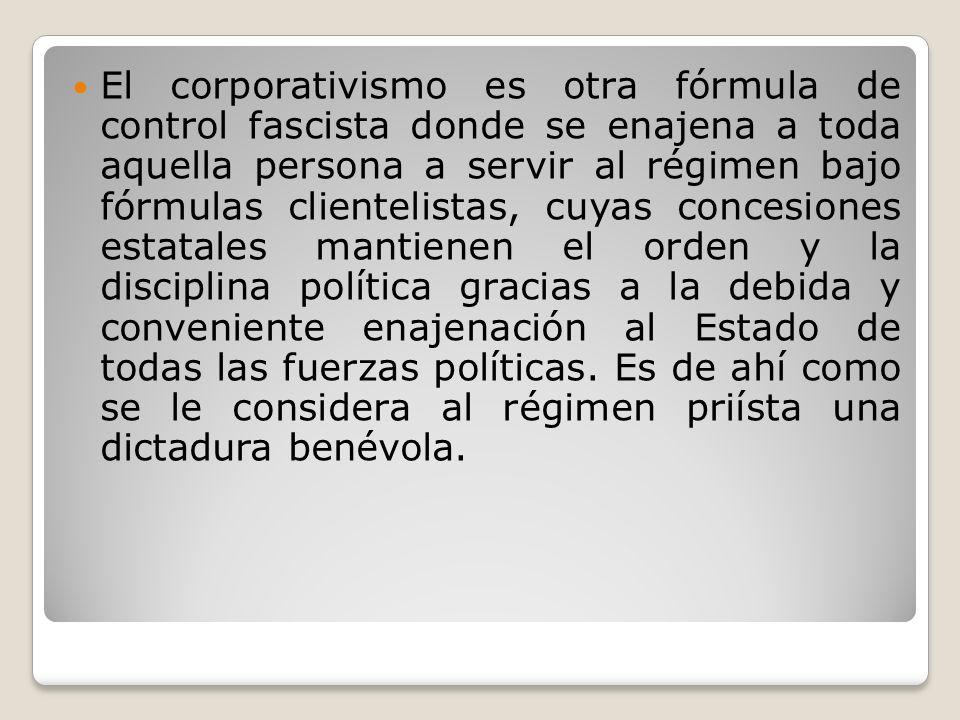 El corporativismo es otra fórmula de control fascista donde se enajena a toda aquella persona a servir al régimen bajo fórmulas clientelistas, cuyas c