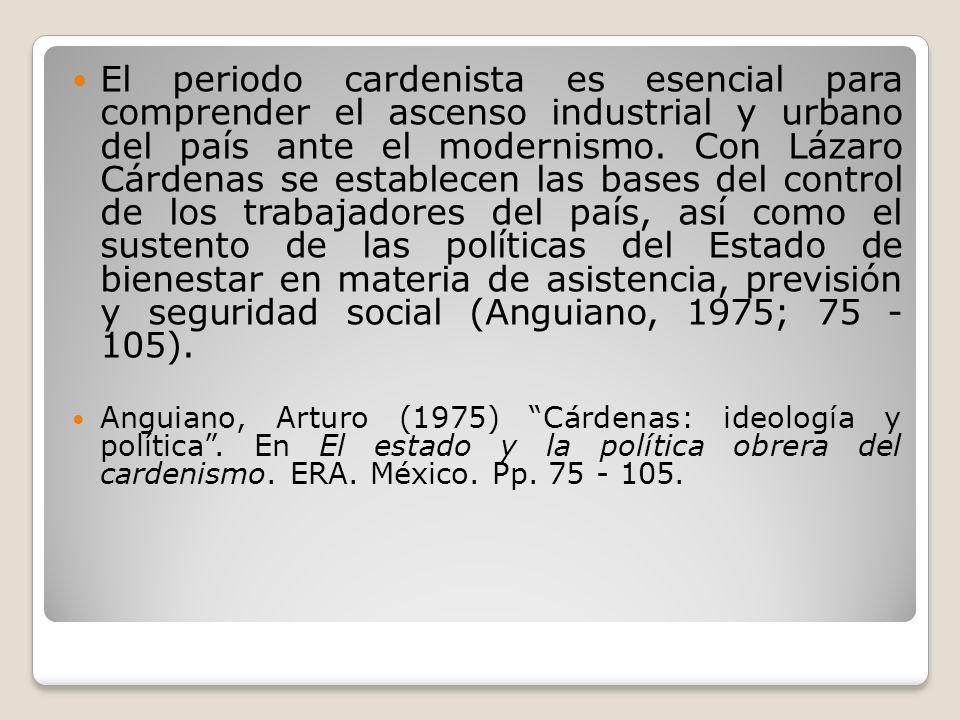 El periodo cardenista es esencial para comprender el ascenso industrial y urbano del país ante el modernismo. Con Lázaro Cárdenas se establecen las ba