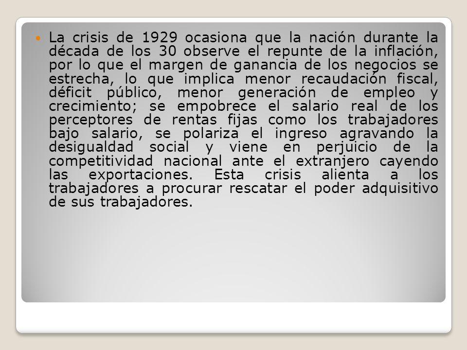 La crisis de 1929 ocasiona que la nación durante la década de los 30 observe el repunte de la inflación, por lo que el margen de ganancia de los negoc