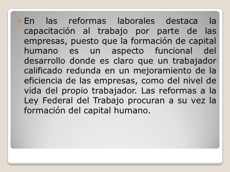 En las reformas laborales destaca la capacitación al trabajo por parte de las empresas, puesto que la formación de capital humano es un aspecto funcio