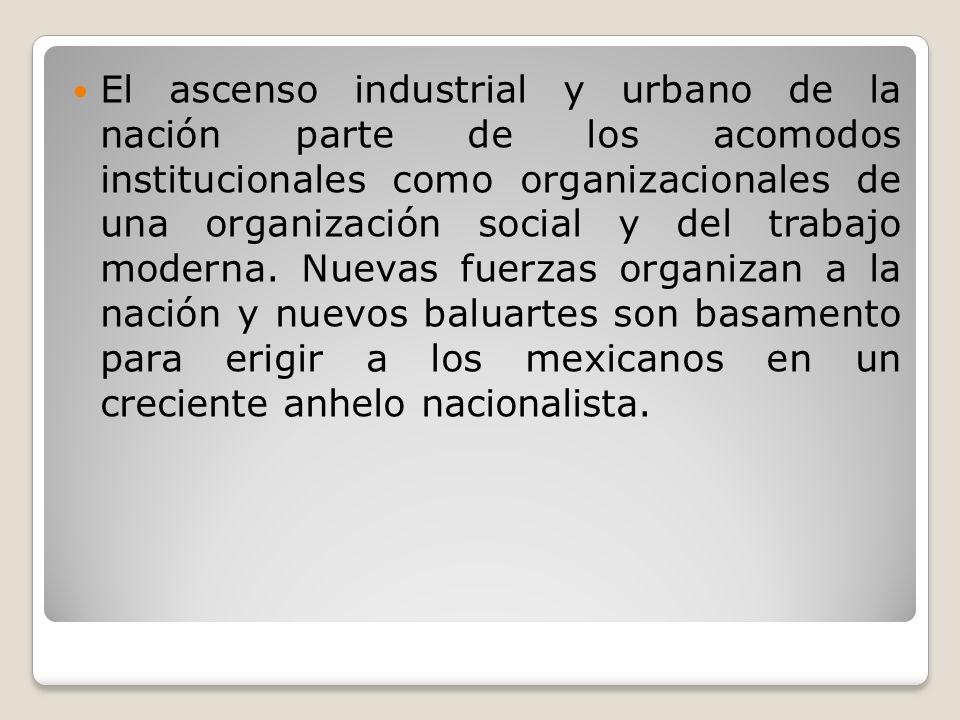 El ascenso industrial y urbano de la nación parte de los acomodos institucionales como organizacionales de una organización social y del trabajo moder