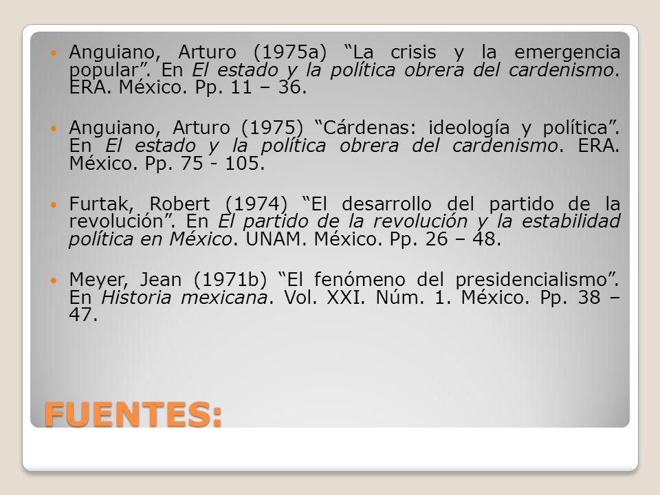 FUENTES: Anguiano, Arturo (1975a) La crisis y la emergencia popular. En El estado y la política obrera del cardenismo. ERA. México. Pp. 11 – 36. Angui