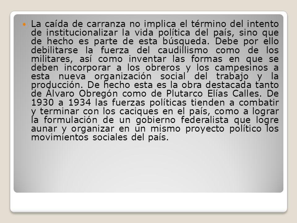 Un elemento importante en la organización social del trabajo y la producción en México es la creación del Partido Nacional Revolucionario (PNR).