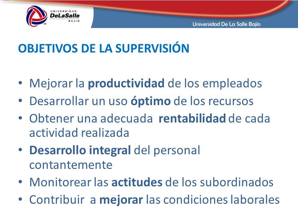 OBJETIVOS DE LA SUPERVISIÓN Mejorar la productividad de los empleados Desarrollar un uso óptimo de los recursos Obtener una adecuada rentabilidad de c