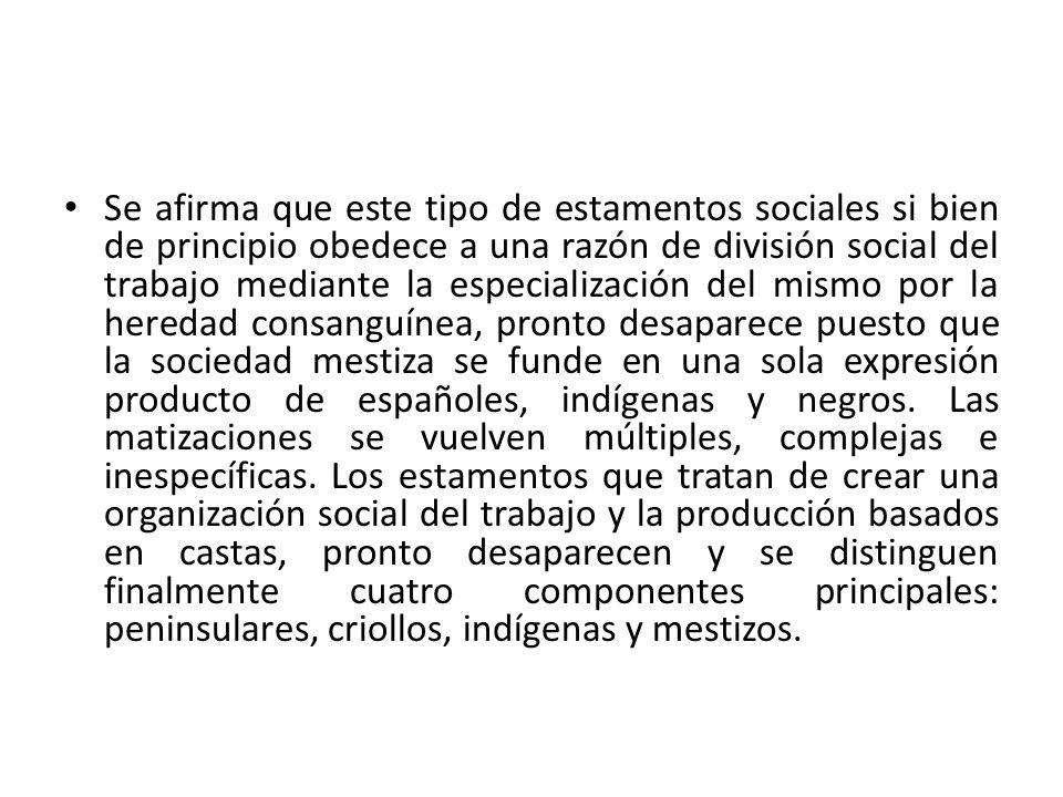 Se afirma que este tipo de estamentos sociales si bien de principio obedece a una razón de división social del trabajo mediante la especialización del