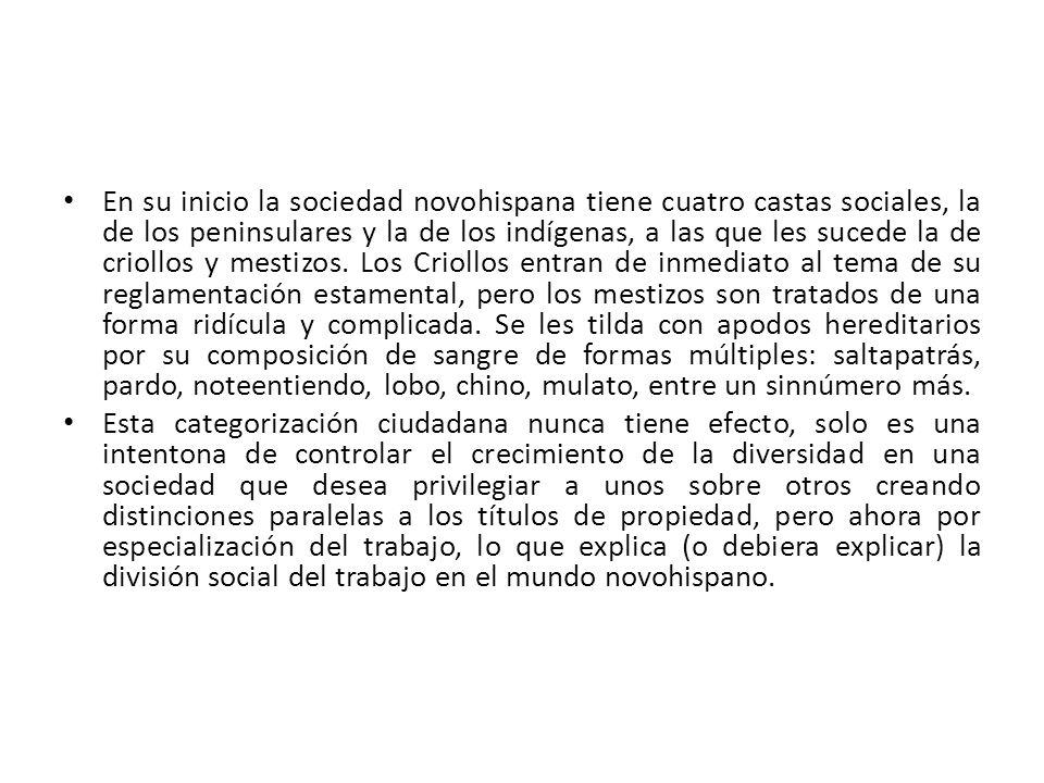 En su inicio la sociedad novohispana tiene cuatro castas sociales, la de los peninsulares y la de los indígenas, a las que les sucede la de criollos y