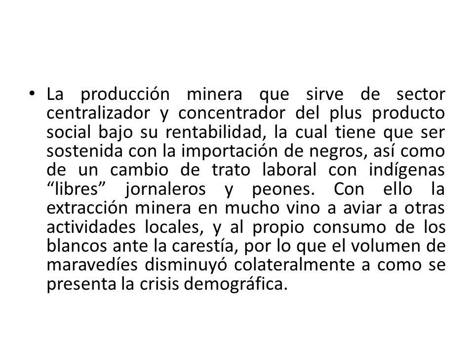 La producción minera que sirve de sector centralizador y concentrador del plus producto social bajo su rentabilidad, la cual tiene que ser sostenida c