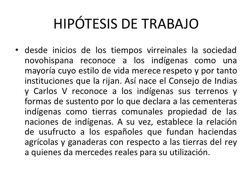 HIPÓTESIS DE TRABAJO desde inicios de los tiempos virreinales la sociedad novohispana reconoce a los indígenas como una mayoría cuyo estilo de vida me