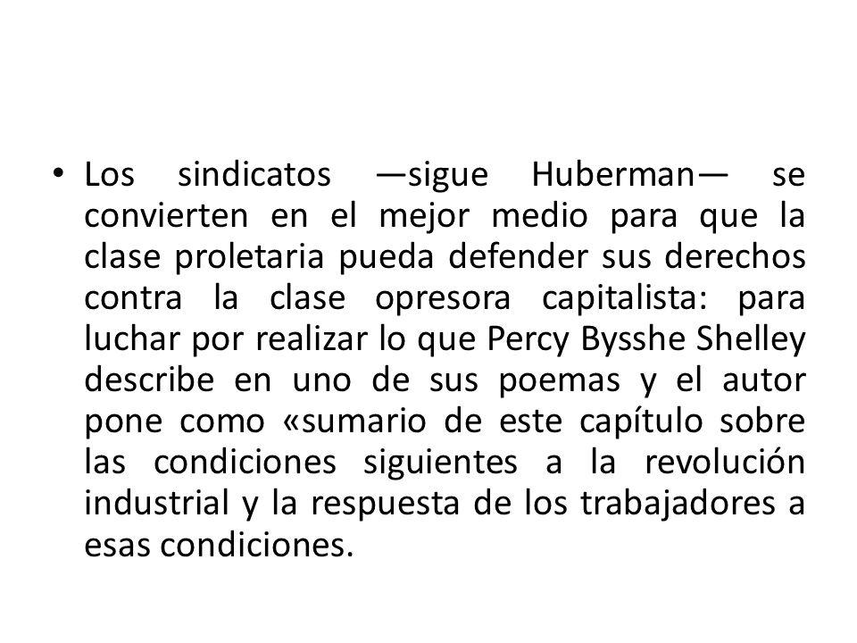 Los sindicatos sigue Huberman se convierten en el mejor medio para que la clase proletaria pueda defender sus derechos contra la clase opresora capita