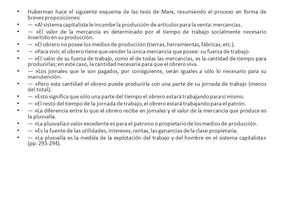 Huberman hace el siguiente esquema de las tesis de Marx, resumiendo el proceso en forma de breves proposiciones: «Al sistema capitalista le incumbe la