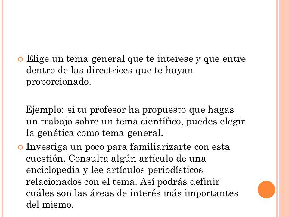 H IPÓTESIS DE TRABAJO FINAL : Al desarrollar un proyecto, es muy frecuente salirse del tema.