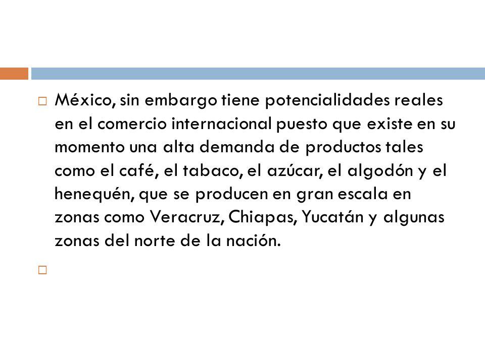 México, sin embargo tiene potencialidades reales en el comercio internacional puesto que existe en su momento una alta demanda de productos tales como