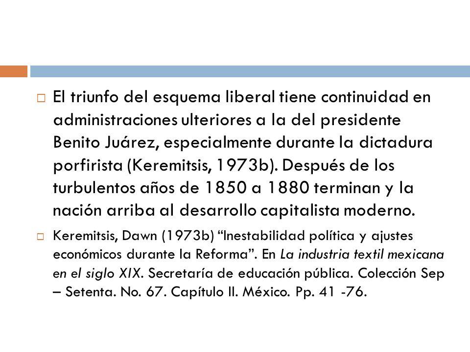 El triunfo del esquema liberal tiene continuidad en administraciones ulteriores a la del presidente Benito Juárez, especialmente durante la dictadura