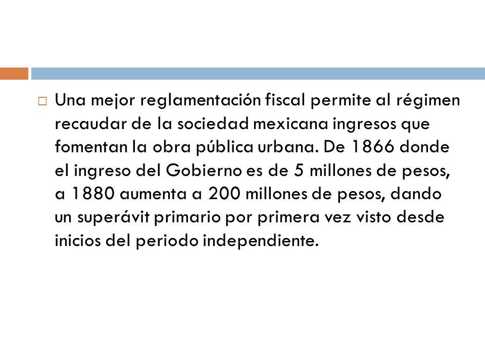 Una mejor reglamentación fiscal permite al régimen recaudar de la sociedad mexicana ingresos que fomentan la obra pública urbana. De 1866 donde el ing