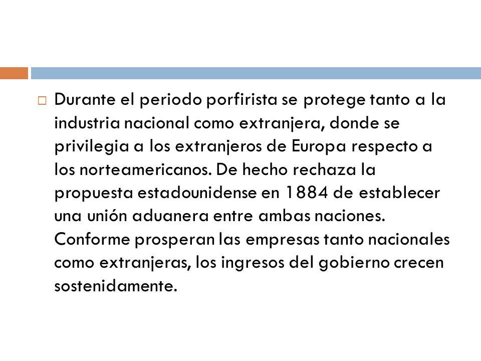 Durante el periodo porfirista se protege tanto a la industria nacional como extranjera, donde se privilegia a los extranjeros de Europa respecto a los