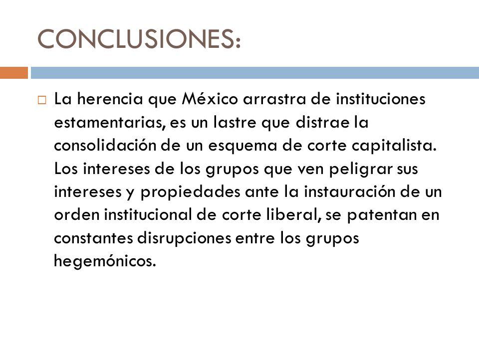 CONCLUSIONES: La herencia que México arrastra de instituciones estamentarias, es un lastre que distrae la consolidación de un esquema de corte capital