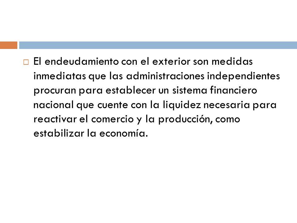El endeudamiento con el exterior son medidas inmediatas que las administraciones independientes procuran para establecer un sistema financiero naciona
